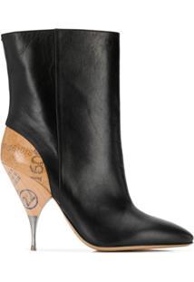 Maison Margiela Ankle Boot Com Salto Contrastante - Preto