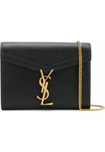 Saint Laurent Carteira Monogramada Com Corrente - Preto