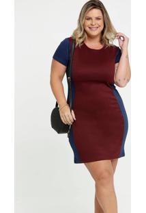 Vestido Feminino Bicolor Manga Curta Plus Size