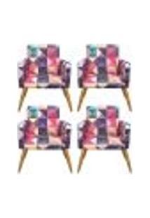 Conjunto 4 Poltronas Decorativa Nina Triângulos - Bela Casa Shop