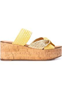 Casadei Sandália Com Plataforma E Tiras Cruzadas - Amarelo