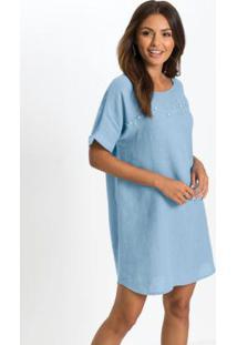 Vestido Com Aplicação Frontal Azul