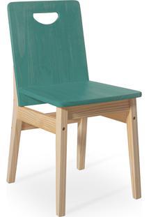 Cadeira Jantar De Madeira Tucupi 40X51X81Cm - Acabamento Stain Natural E Azul