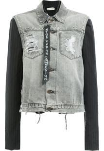 Faith Connexion Jaqueta Jeans Com Mangas Contrastantes - Cinza