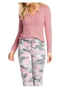 Pijama Longo Militar Malwee Liberta (1000052478) Algodão