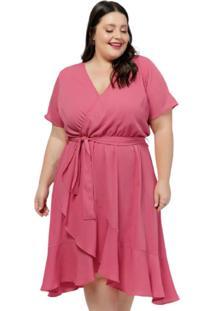 Vestido Social Plus Size Rosa