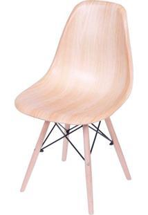 Cadeira Eames Polipropileno Amadeirado Claro Base Madeira - 36780 - Sun House
