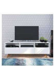 """Rack Tv 65"""" Com 3 Portas Basculantes Branco Lilies Móveis"""