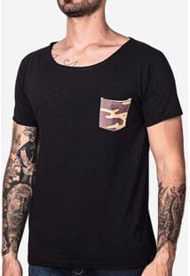 Camiseta Hermoso Compadre Bolso Camuflado Ulin - Masculino-Preto