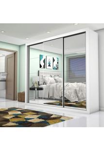 Guarda Roupa Casal Com Espelho 3 Portas De Correr Ilheus Premium Siena Móveis Branco