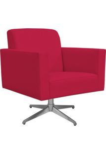 Poltrona Decorativa Com Base Giratória Para Sala De Estar Helô Suede Pink - Lyam Decor