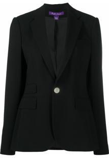 Ralph Lauren Collection Blazer De Alfaiataria De Lã E Crepe - Preto