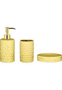 Jogo Para Banheiro Em Relevo- Dourado & Amarelo- 3Pçmart