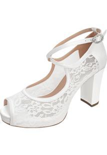 Sandalia De Noiva Renda Branca Duani Salto Confortavel
