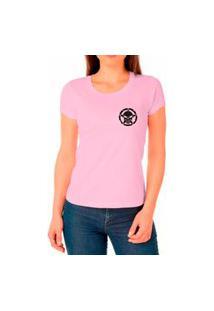 Camiseta Feminina Algodão Básica Confortável Dia A Dia Rosa