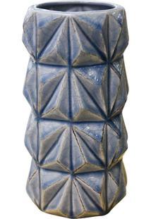 Vaso Geométrico Azul Em Cerâmica