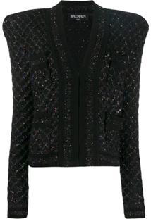 Balmain Sequin Tweed Jacket - Preto