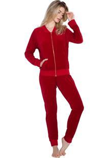 Pijama Inspirate Plush De Inverno Vermelho Com Zípe