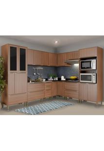 Cozinha Completa 19 Portas 4 Gavetas 5461 Nogueira/Malt - Multimóveis
