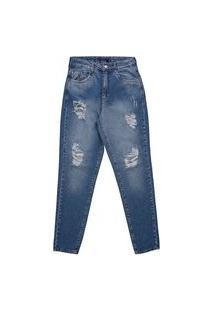 Calça Mom Feminina Com Recorte Jeans Estonado
