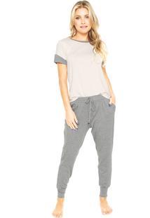 Pijama Hope Bicolor Bege/Cinza