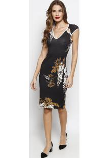 Vestido Com Recortes Vazados- Preto & Amarelo Escuroforum