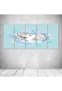 Quadro Decorativo - Elephant Blue - Composto De 5 Quadros - Multicolorido - Dafiti
