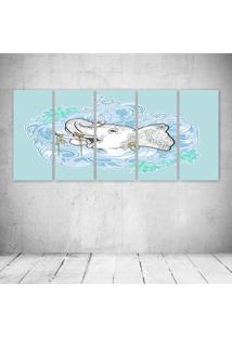 Quadro Decorativo - Elephant Blue - Composto De 5 Quadros