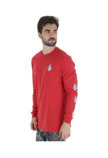 Camiseta Manga Longa Volcom Deadly Stones - Masculina - Vermelho