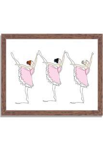 Quadro Decorativo Infantil Bailarinas Em Arabesque Madeira - Médio