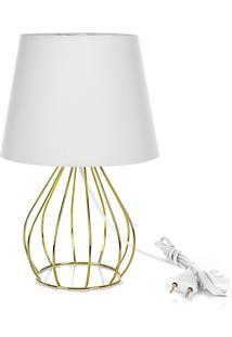Abajur Cebola Dome Branco Com Aramado Dourado - Branco - Dafiti
