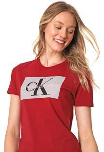 Blusa Calvin Klein Jeans Lettering Vermelha - Kanui