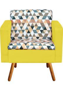 Poltrona Decorativa Emília Estampado Triangulo D87 Com Suede Amarelo - D'Rossi