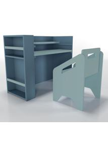 Escrivaninha+Cadeira+Porta-Livros Lumi Azul Timber