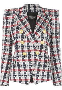 Balmain Blazer De Tweed Com Abotoamento Duplo - Preto