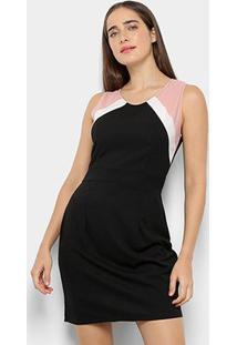Vestido Curto C & V Collection Regata Tricolor - Feminino-Preto