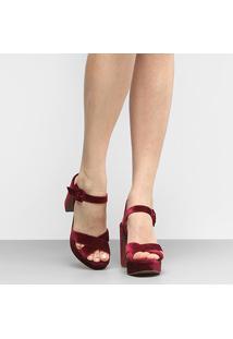 Sandália Shoestock Meia Pata Veludo - Feminino-Vinho