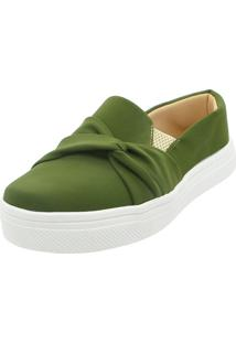 Tenis Hope Shoes Slipper Com Laço Cruzado Verde Militar - Tricae