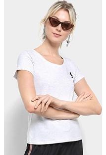 Camiseta Top Moda Bordado Feminina - Feminino-Cinza