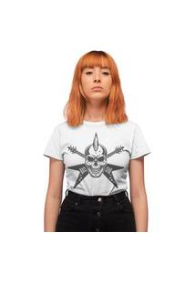Camiseta Feminina Mirat Rock Moicano Branco