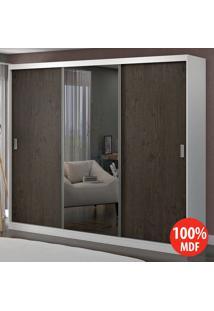 Guarda Roupa 3 Portas Com 1 Espelho 100% Mdf 1904E1 Branco/Málaga - Foscarini
