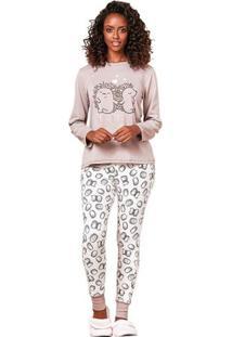 Pijama Longo De Inverno Brown Feminino Luna Cuore