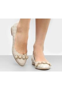 Sapatilha Couro Shoestock Croco Feminina - Feminino
