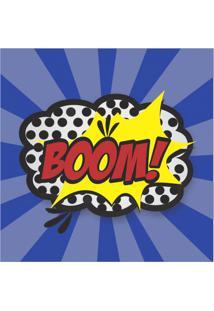 Placa Decorativa Boom 25X25 Cm Preto
