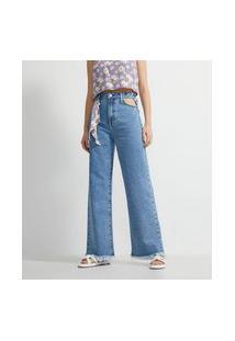Calça Wide Leg Jeans Com Recorte Vazado E Cinto Lenço Floral | Blue Steel | Azul | 44