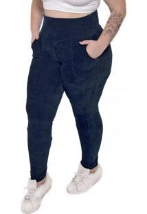 Calça Legging Peluciada Plus Size Azul Marinho