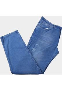 Calça Jeans Plus Size Preston Com Puídos Masculina - Masculino