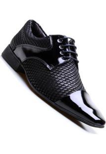 Sapato Social Em Couro Com Cadarço Calvest Masculino - Masculino-Preto