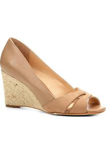 Peep Toe Anabela Shoestock Corda Mix Couros - Feminino