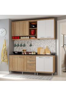 Cozinha Compacta Com Tampo 4 Peças 5819-S10T Sicília - Multimóveis - Argila Acetinado / Branco Acetinado